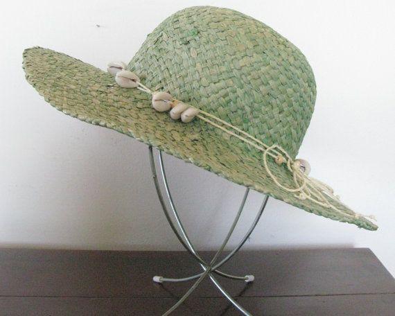 Vintage Straw Hat, Green Raffia Beach Sun Hat, Woven Grass Summer Hat