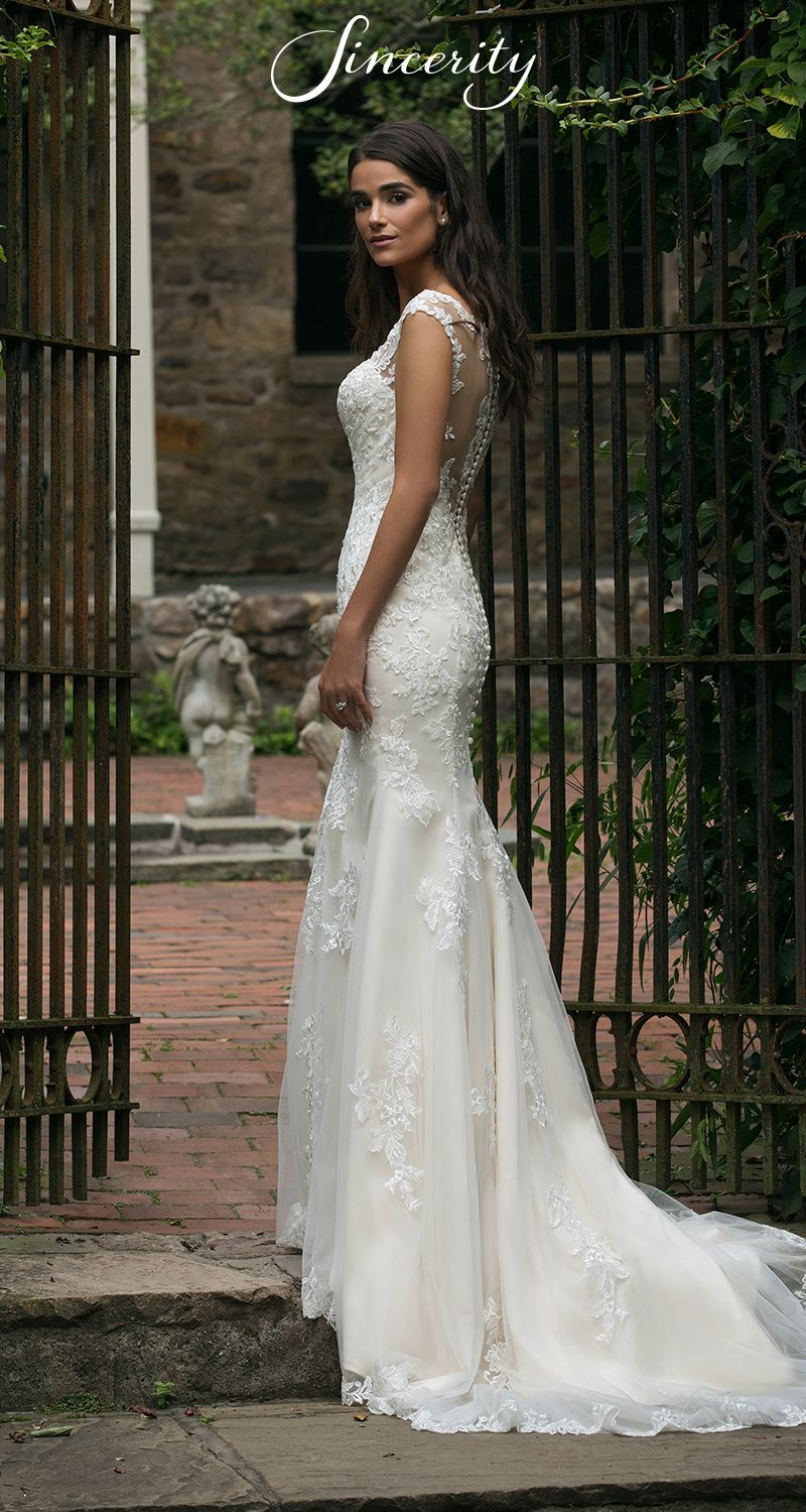 Style vneck fit and flare wedding dress with illusion lace