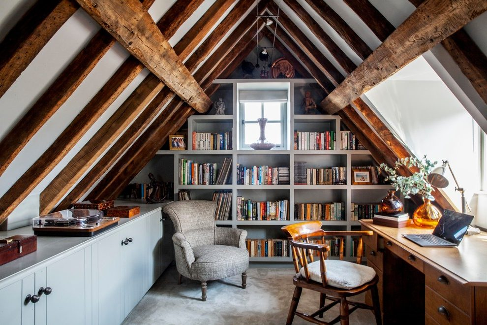 Surrey Attic Wall Farmhouse Home Office Attic Home Office Room Bookshelf Wall Built In Country Style Ex Small Home Office Shelves In Bedroom Modern Home Office