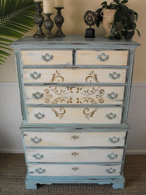Aqua and antique white chest of drawers