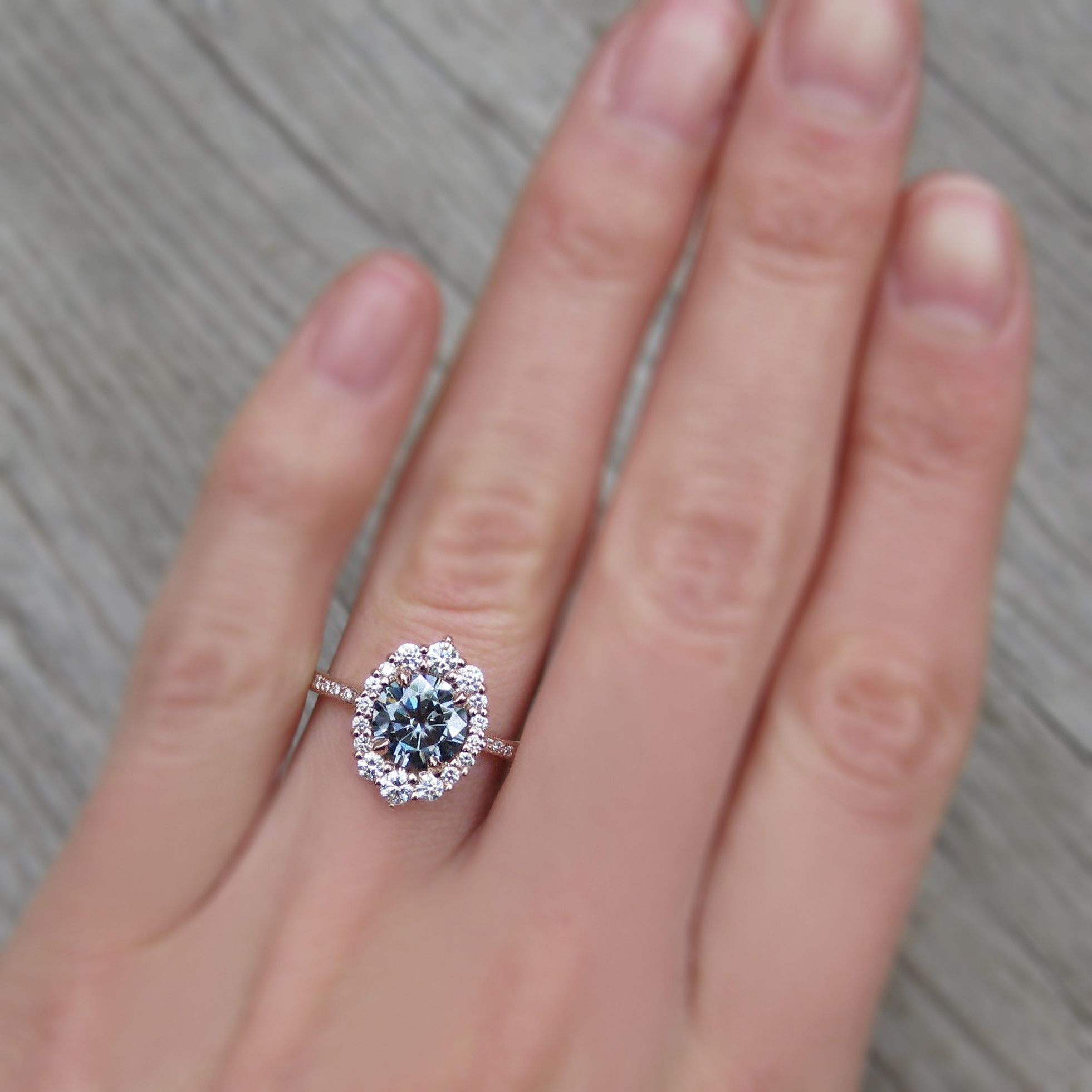 Dark Grey Moissanite Engagement Ring with Diamond Halo + Pavé Band ...