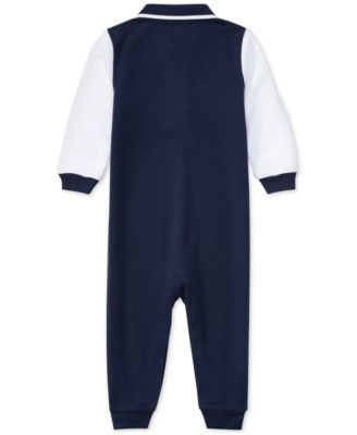 Ralph Lauren Colorblocked Cotton Coverall, Baby Boys (0-24 months) - -White 12 months