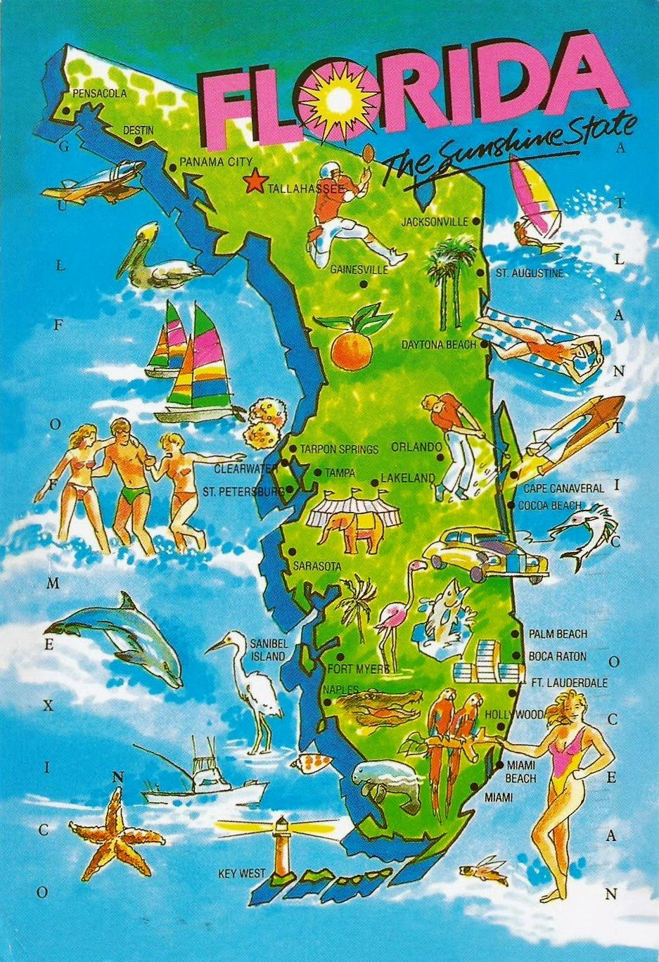 Florida State Map.Pictorial Map Card Of The State Of Florida Usa Postcard Wishlist