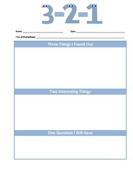 3-2-1 Assessment Strategy Worksheet. Great way to find out ...