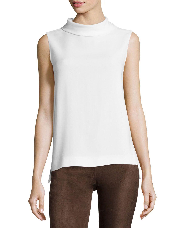 Joseph High-Neck Split-Back Sleeveless Blouse, Women's, Size: 42, Ivory