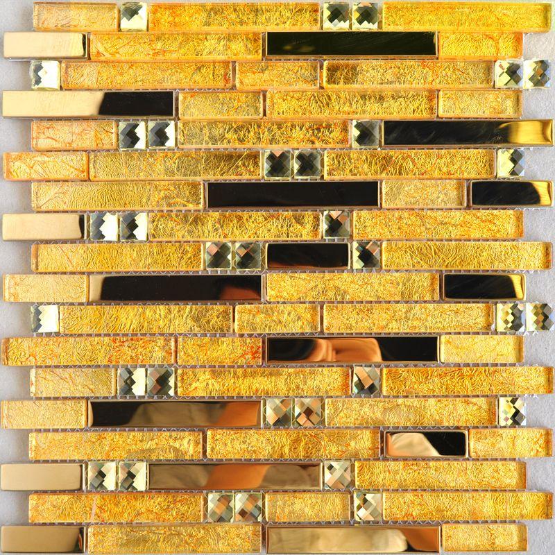 Gold Crystal Glass Mosaic Diamond Designs Interlocking Stainless Steel Tile Backsplash 10101 Bathroom Mirrored Wall Tiles