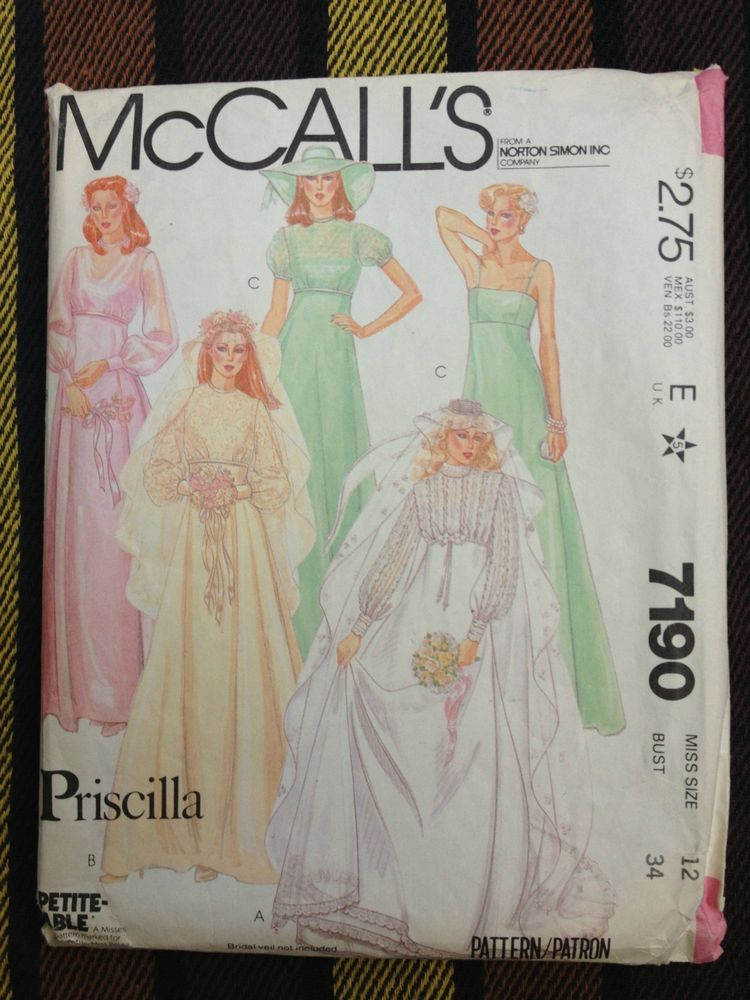 VTG McCall's 7190 Priscilla Bridal & Bridesmaids Gown Pattern Size 12 Bust 34 1980