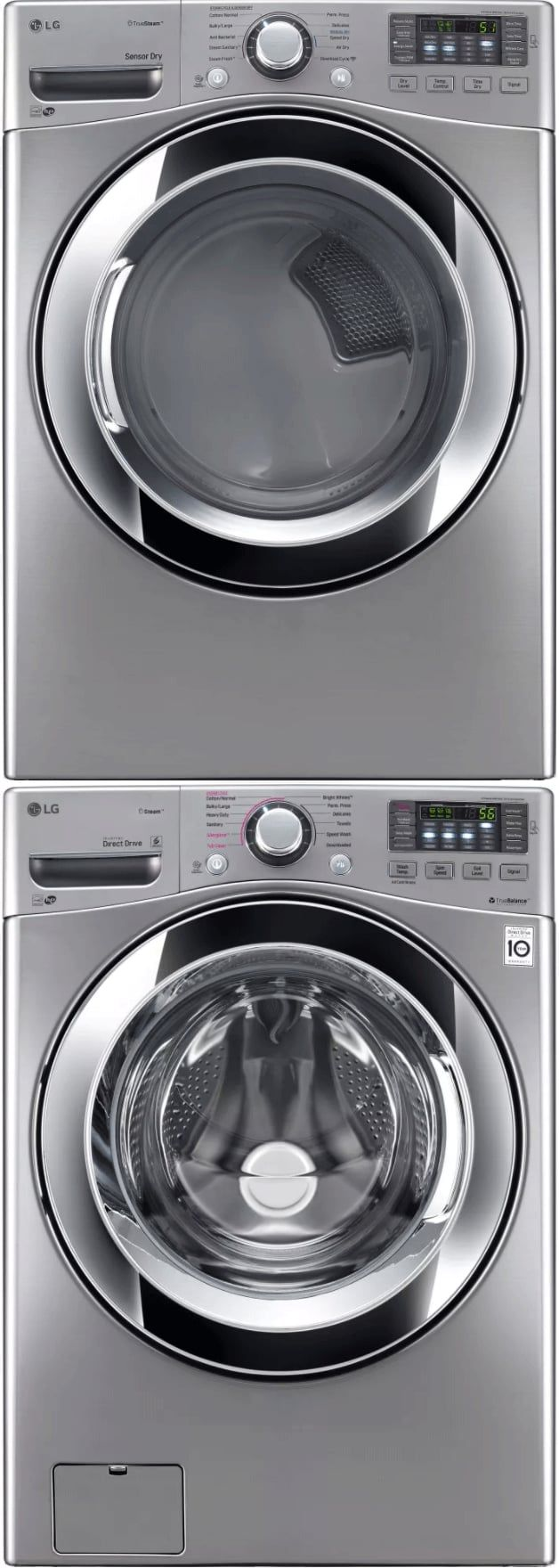 Lg Lgwadregs2 Stacked Washer Dryer Set With Front Load Washer And Electric Dryer In Graphite Steel Lg Stackable Washer Dryer Stackable Washer And Dryer