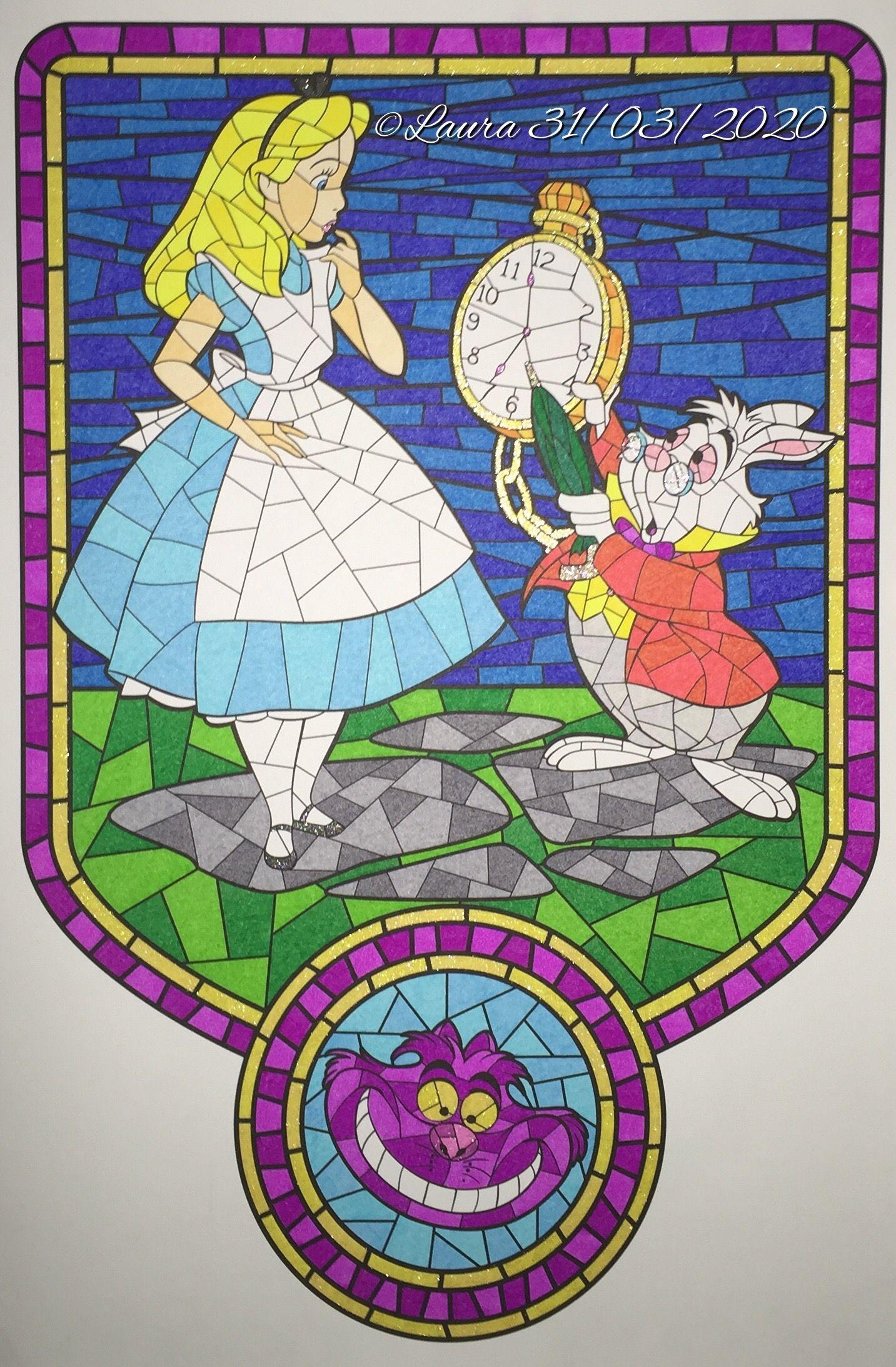 Alice in Wonderland  Vitrail disney, Coloriage disney, Dessin