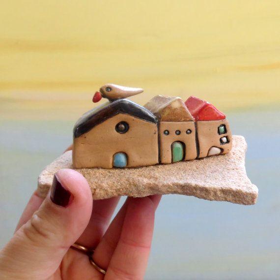 Little Houses Ceramic Houses Beach Art Sculpture Miniatures Rustic Home Decor Love Gift New Home Housewarming Gift Home Sweet Home Ceramic Houses Little Houses Hand Built Pottery