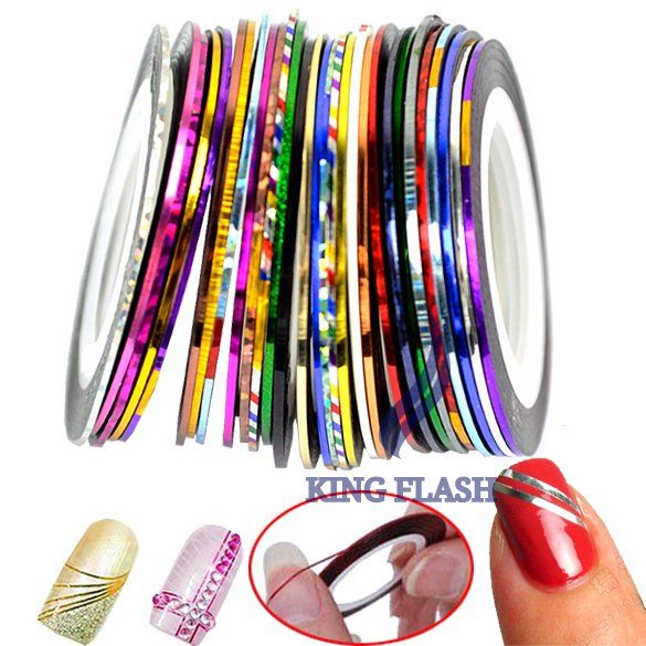 30 Mix Color Rolls Striping Tape Metallic Yarn Line Nail Art Decoration Sticker Free Shipping 4964 on AliExpress.com. 10% off $4.63