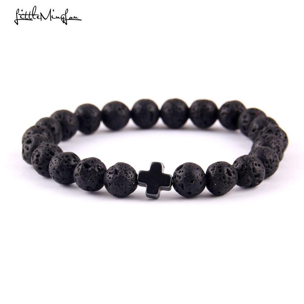 Little minglou new trendy jesus cross charm men bracelets black lava