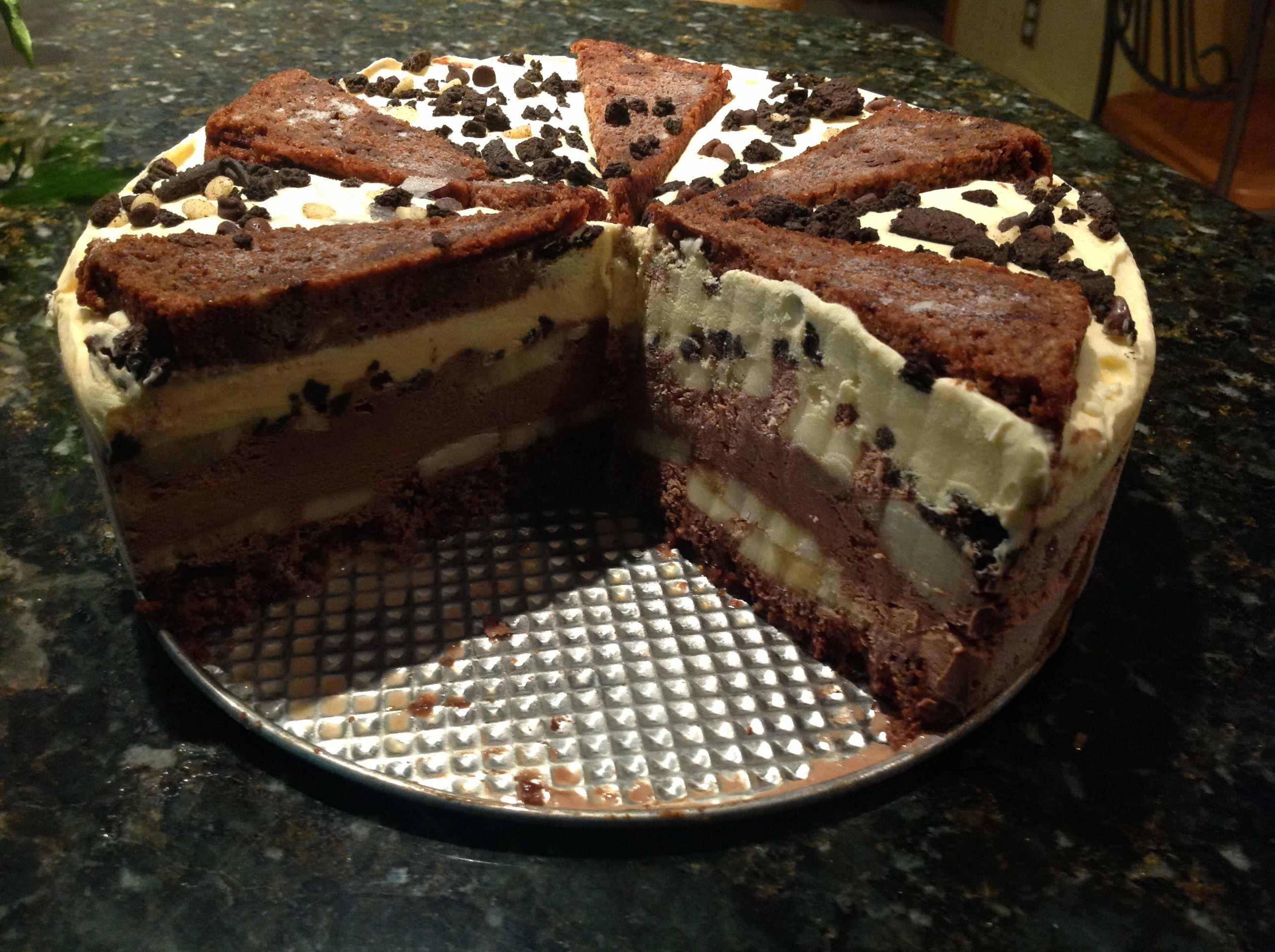 Chocolate banana ice cream cake for Gary's birthday. http ...
