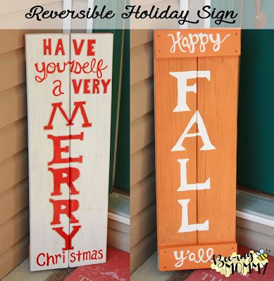 reversible happy fall y all merry christmas welcome sign