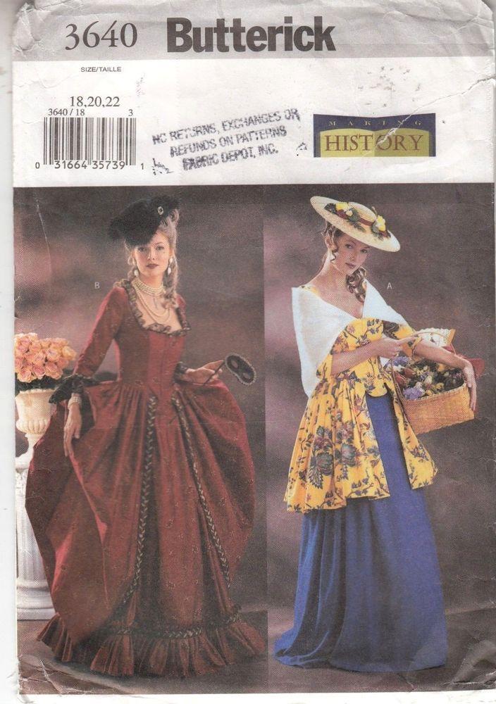 Dress Costumes Marie Antoinette My Fair Lady Butterick Pattern 3640