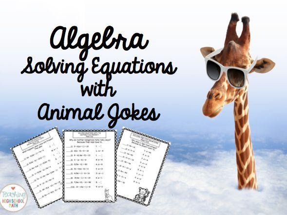 algebra solving equations practice with animal jokes solving equations animal jokes and algebra. Black Bedroom Furniture Sets. Home Design Ideas