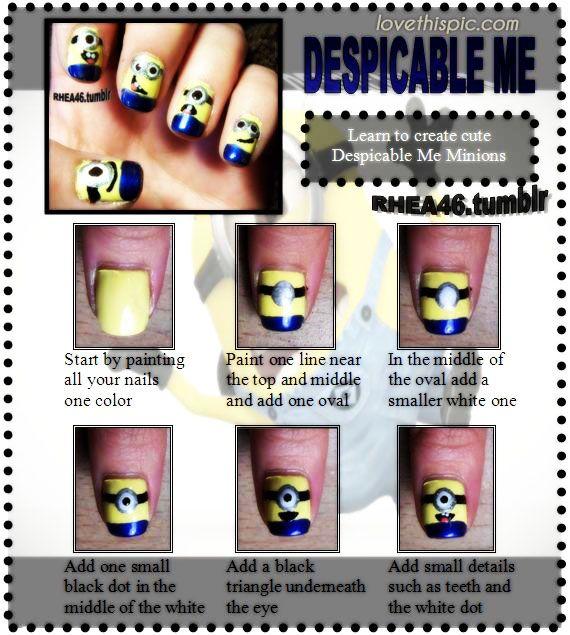 DIY Despicable Me Nails funny cute nails fun diy girlie crafts easy craft despicable me diy easy
