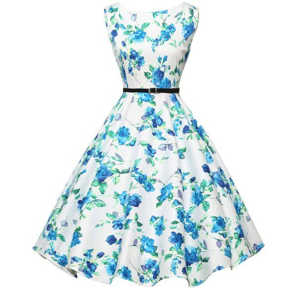 bd6023f7e7ee 8 Cute & Inexpensive Vintage Summer Dresses by Grace Karin: Cute vintage  white-blue floral summer dress with fit and flare silhouette by Grace Karin  (Shop ...