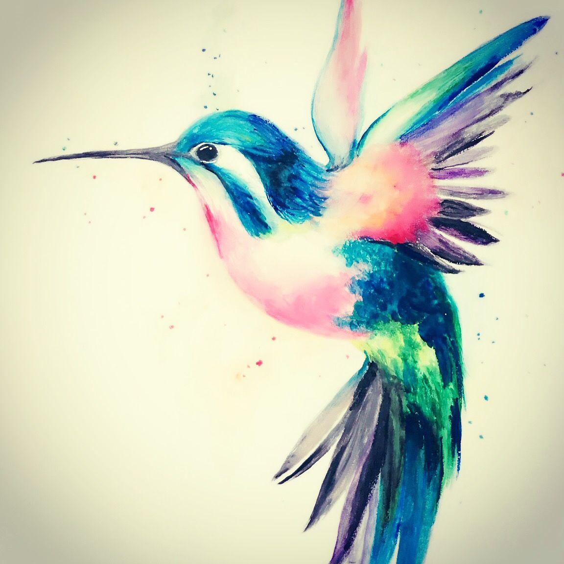 Watercolor Hummingbird Tattoo Ideas