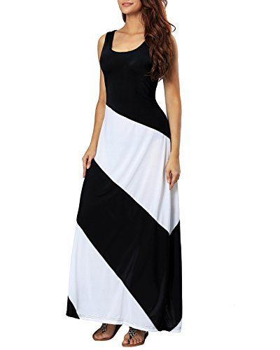 24b4df3374 SALE PRICE -  13.98 - Aofur Summer Women Casual Striped Sleeveless Beach Maxi  Dress Plus Size Evening Long Skirt