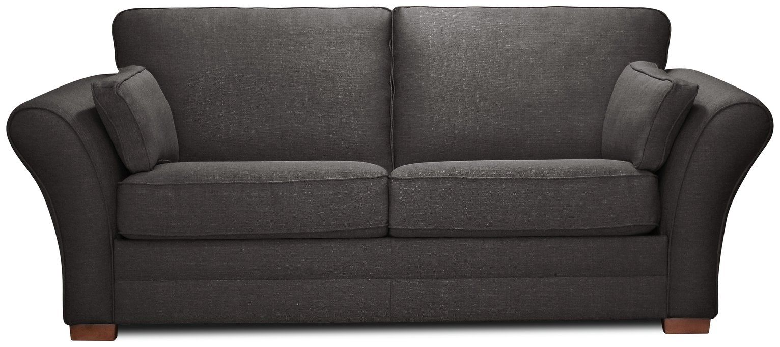 Argos Home New Thornton 3 Seater Fabric Sofa Bed Charcoal
