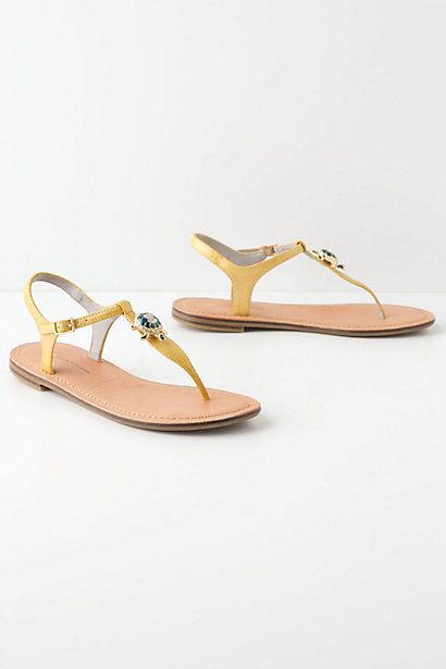 Yellow T-Strap with jeweled turtles! By Pilcro