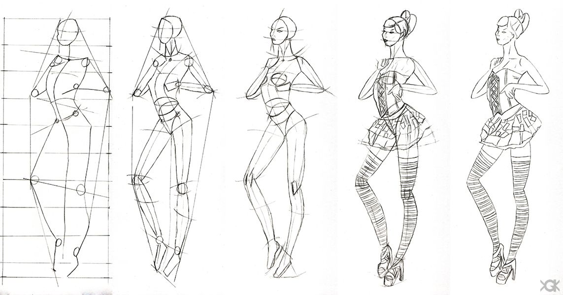 Sketch Of Fashion Design 2 Step By Step By Vegakavgk Fashion Drawing Sketches Fashion Design Sketches Fashion Drawing