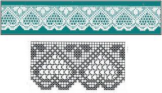 Crochet Knitting Handicraft: Hearts Crochet Fillet