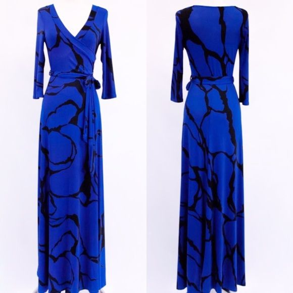 Arrives SoonRoyal Blue Floral Maxi Stunning royal blue  floral print full length maxi dress features a mock wrap, v-neckline, belt tie and 3/4 sleeves. Sizes: Small, Medium, Large.     Comment below with your size and I will create a separate listing for you to purchase.   Arrives in a week, serious buyers comment below with the size you will need and I will notify you when it arrives Dresses Maxi