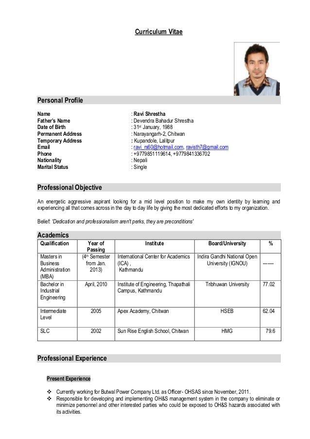Curriculum Vitaepersonal Profilename Ravi Sh Resume Format Download Download Cv Format Free Resume Template Download