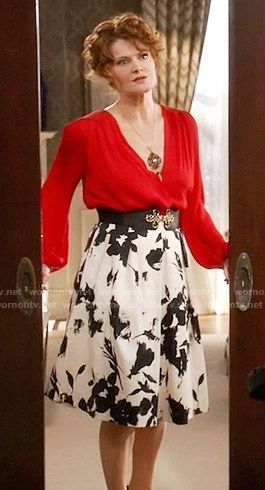 d3a5c81bd9 Evelyn's red blouse and black and white floral skirt on Devious Maids -  shirts & blouses, womens blue blouse, light grey blouse *ad