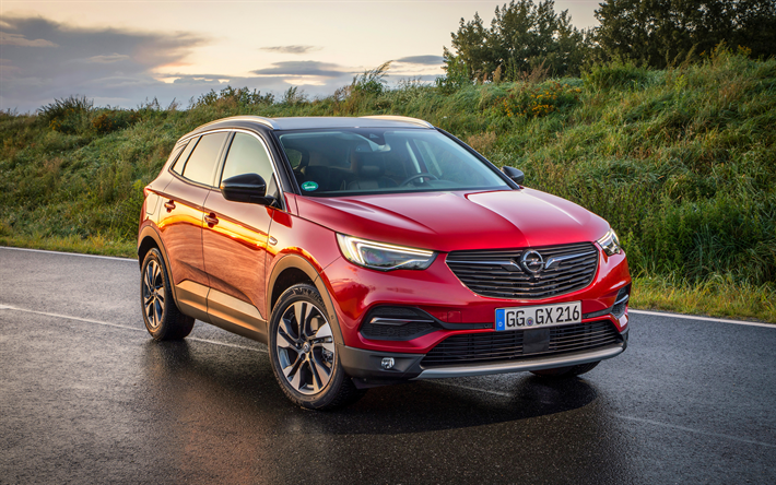 Download Wallpapers Opel Grandland X 2018 New Red Crossover Red