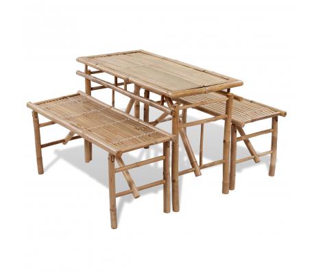 Tavoli Pieghevoli Da Pic Nic.Set Da Picnic Birreria Pieghevole 1 Tavolo E 2 Panchine In Bambu