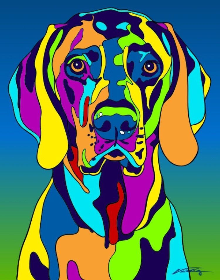 Buy Weimaraner Matted Prints Canvas Giclees At Multi Color