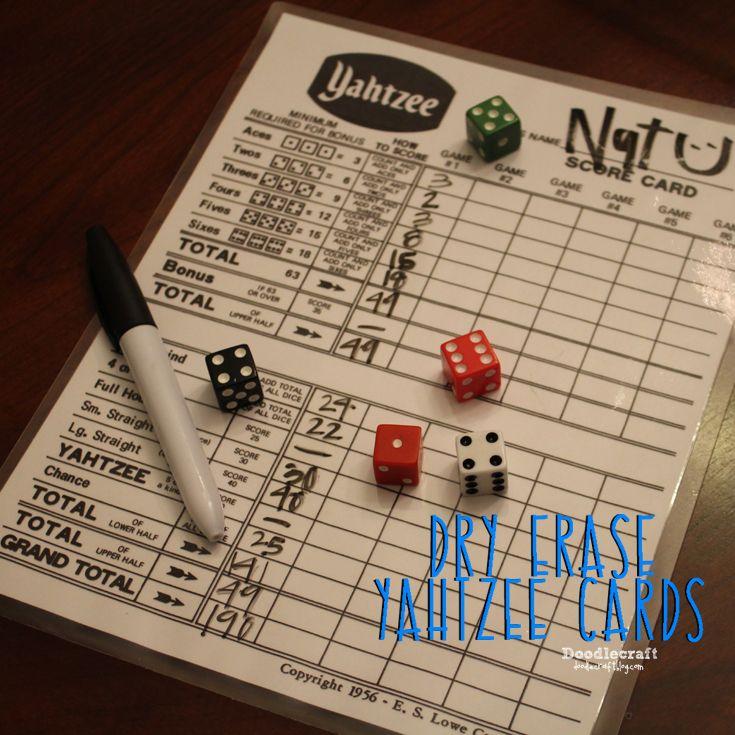 Dry Erase Yahtzee Game Score Cards!