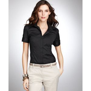 Ann Taylor Women's Black Petite Cotton Button Down Shirt | Women's ...