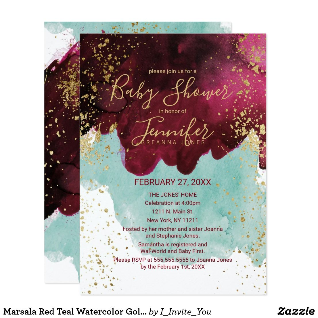 Marsala Red Teal Watercolor Gold Baby Shower Invitation | Babies and ...