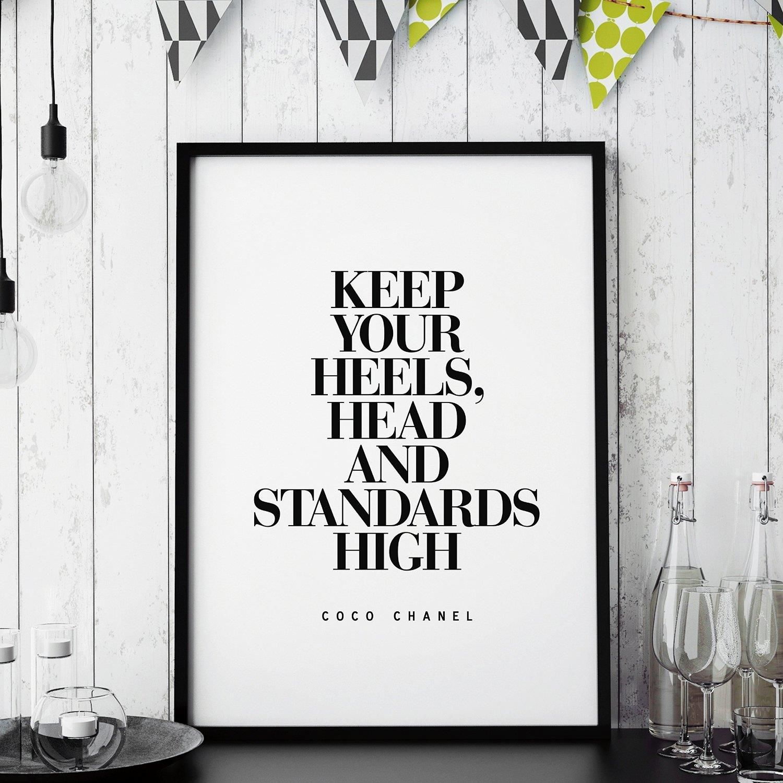 Keep Your Heels High http://www.amazon.com/dp/B016N17QGA motivationmonday print inspirational black white poster motivational quote inspiring gratitude word art bedroom beauty happiness success motivate inspire