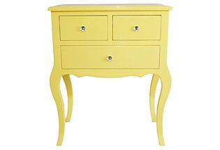 Yellow!  Wooden Side Table w/ 3 Drawers, Yellow Three Hands