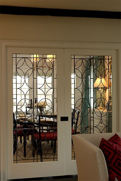 leaded glass pocket doors in between kitchen and family room | new