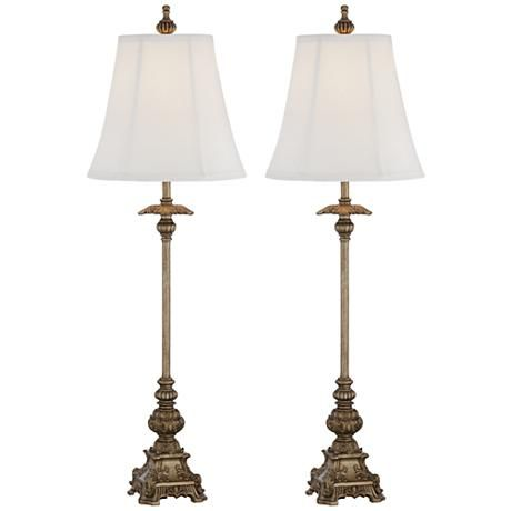 Juliette gold buffet table lamp set of 2 lamps plus