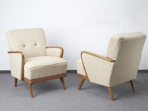 Retro 50s 60s Armchairs Cocktail Chair Pair Vintage Mid Century Club