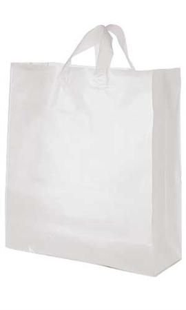 Jumbo Clear Frosted Plastic Shopping Bag | Plastic shopping bags ...