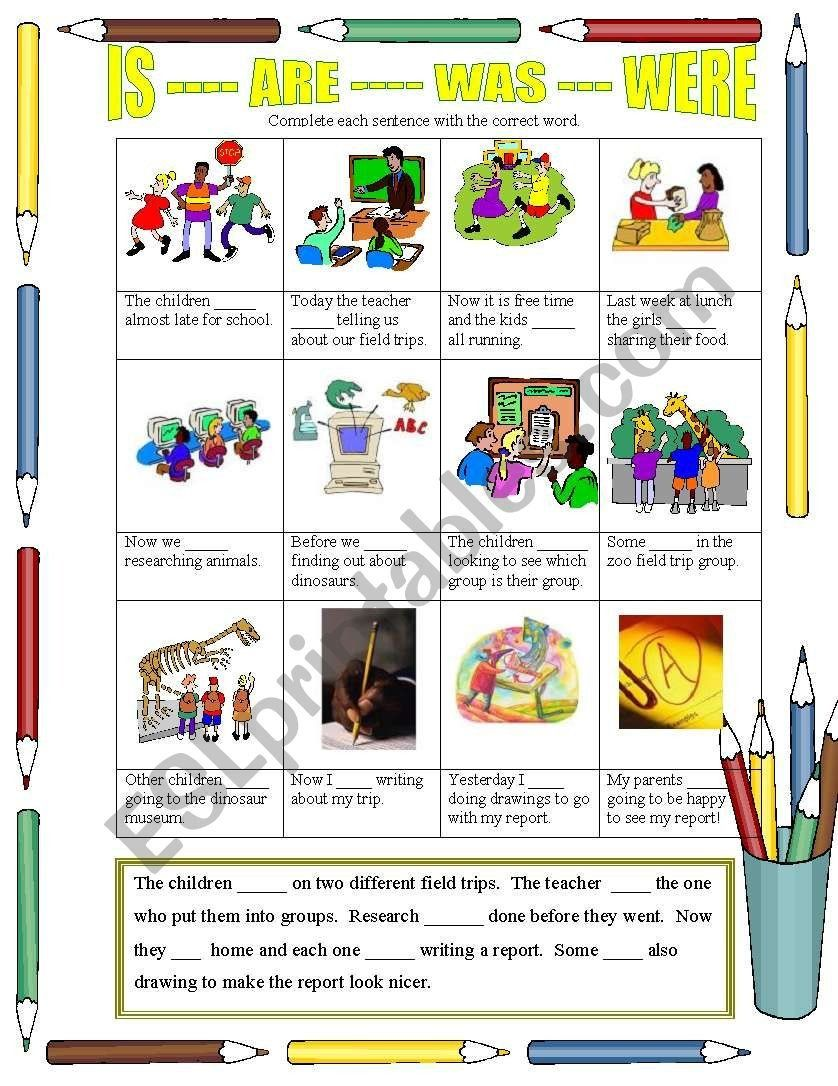 Zoo Field Trip Worksheet Is Are Was Were A Field Trip Esl Worksheet By Moma In 2020 Field Trip Kids Worksheets Printables First Grade Worksheets