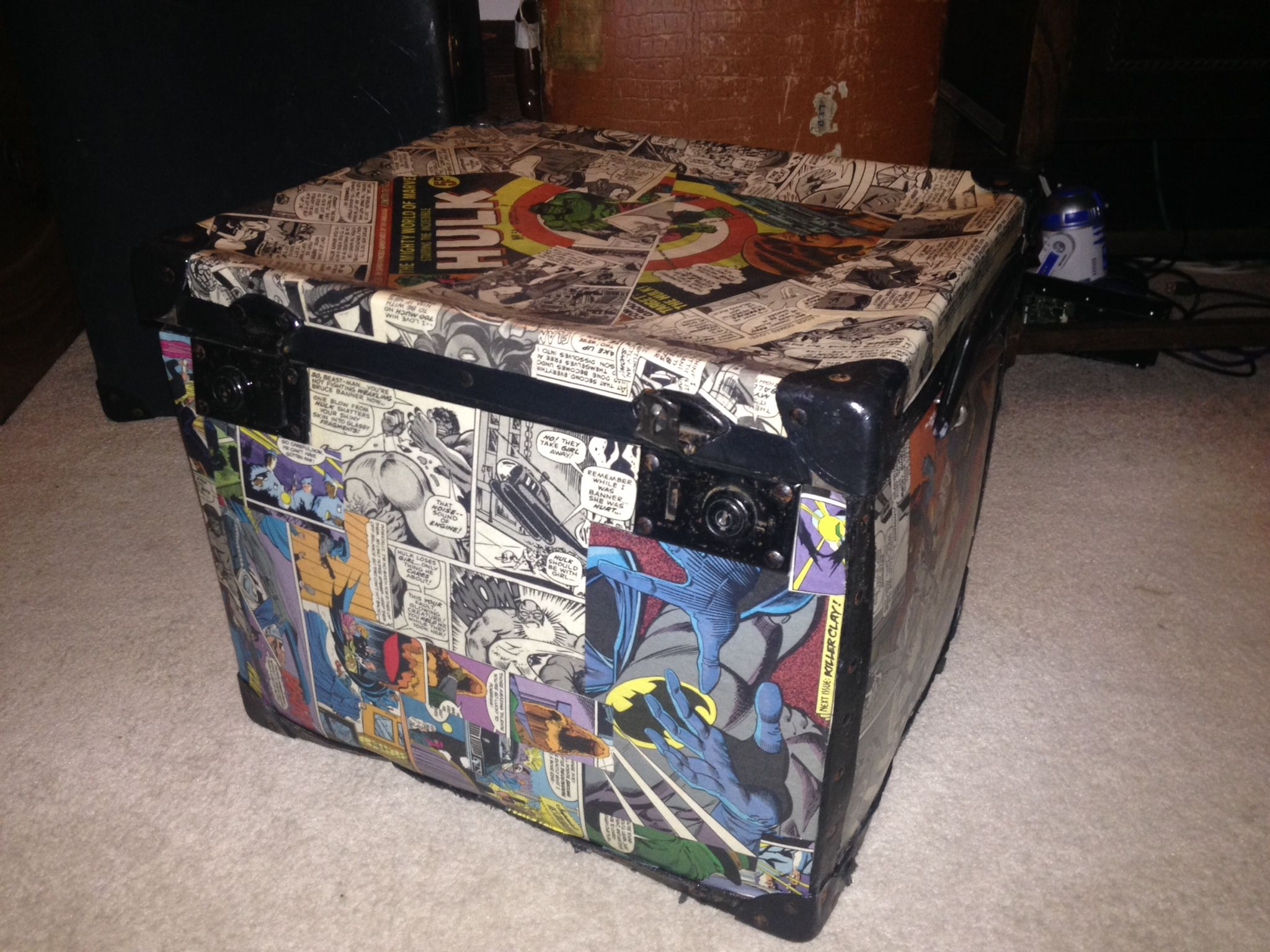 Marvel Comic Decoupage Trunk Altered Boxes Decoupage