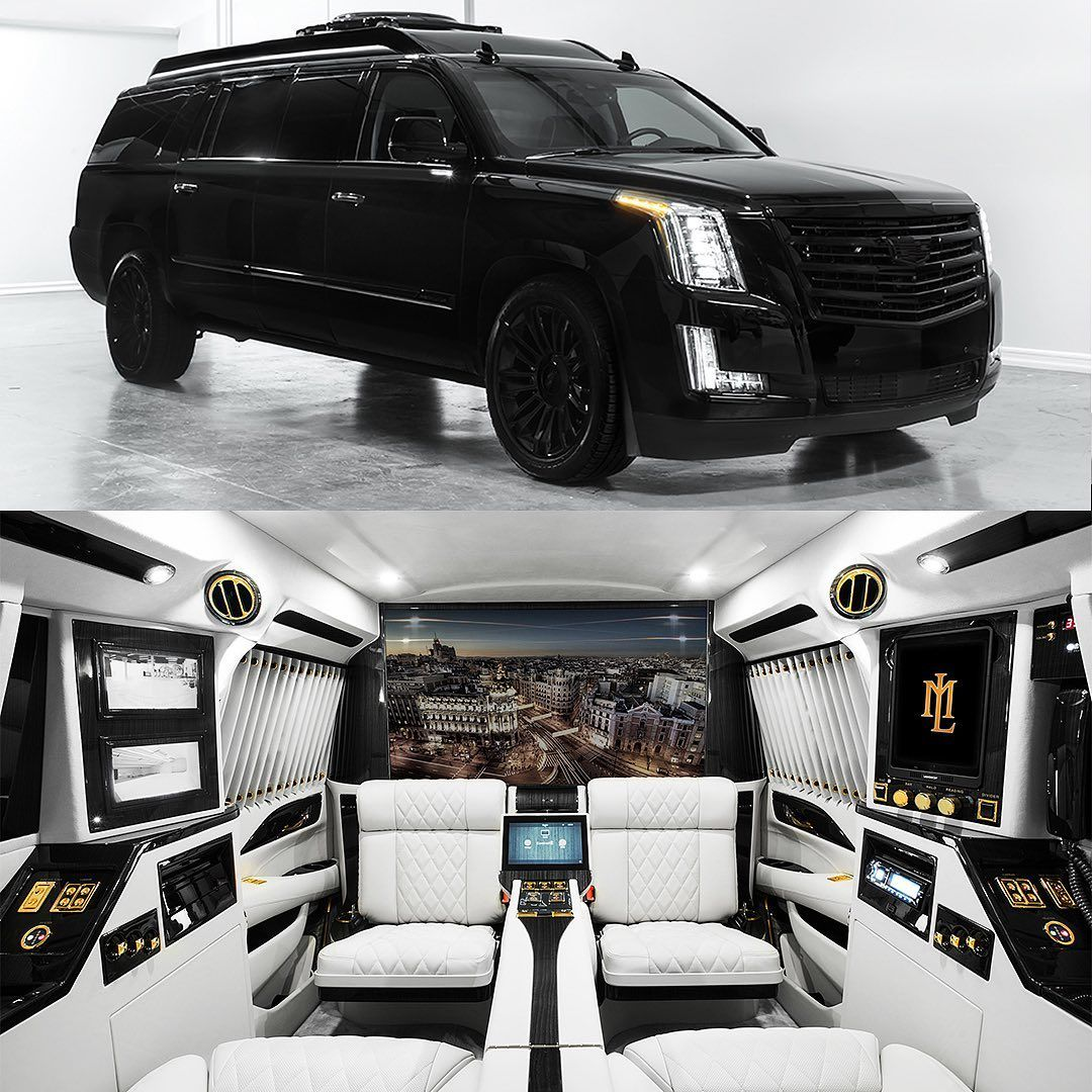 Lexani Motorcars On Instagram Don T Judge A Book By It S Cover Extended Escalade Mobile Office See More O Limousine Interior Luxury Car Interior Dream Cars