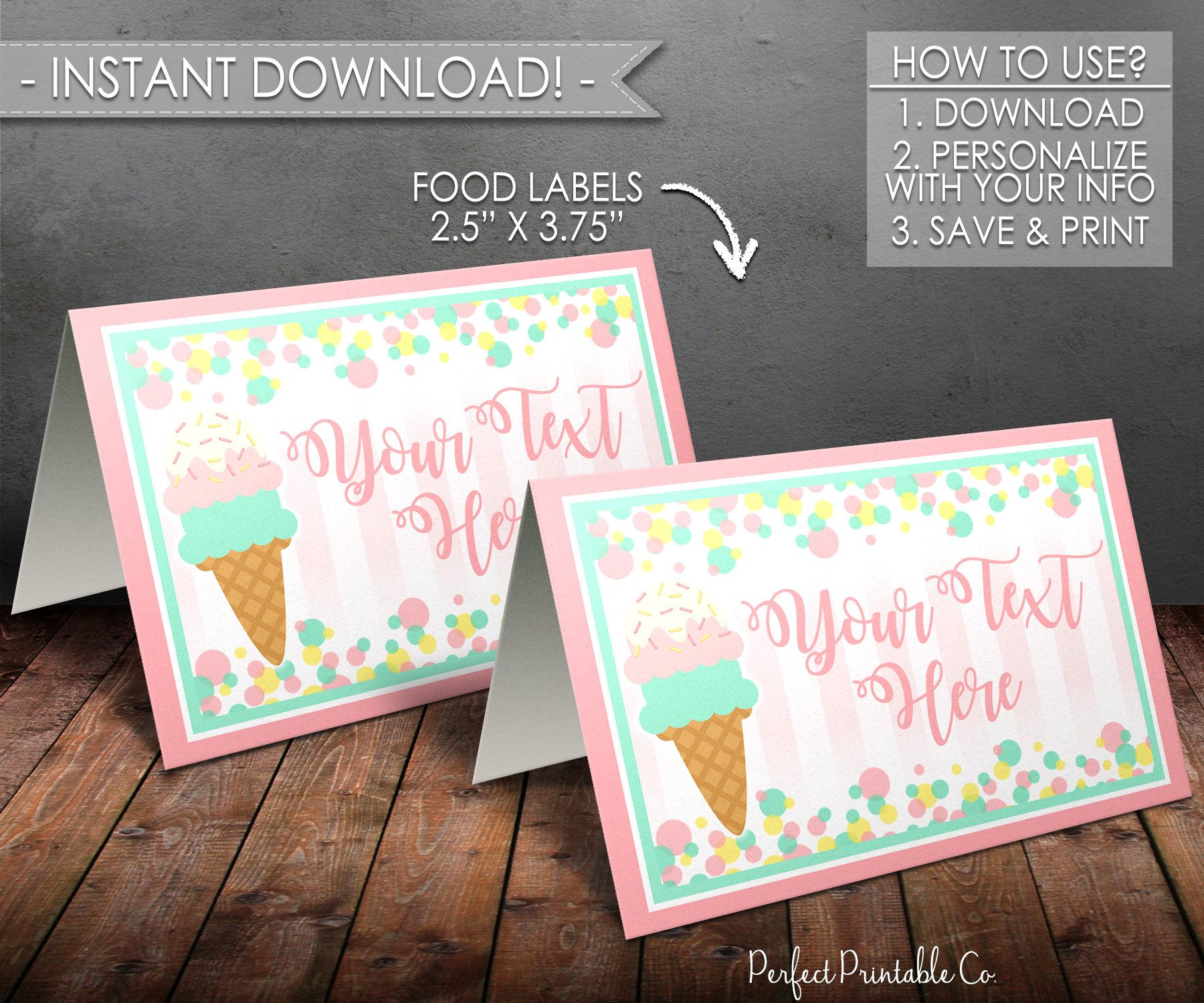 ice cream food tents, popsicle food tents, food labels, food cards