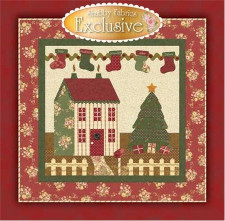 Bowood Wallhanging Pattern: The Bowood Wallhanging is a sweet 41 x 41 project designed exclusively by Shabby Fabrics.  The quilt features a cozy winter setting with gingerbread adorned cottage, embellished Christmas tree, personalized stockings, wool wreath with glass seed beads, and presents. This quilt is quick and easy fusible applique and can be made in just one day!  A kit for this project is available, as are kits and patterns for the coordinating table runner and tree skirt.