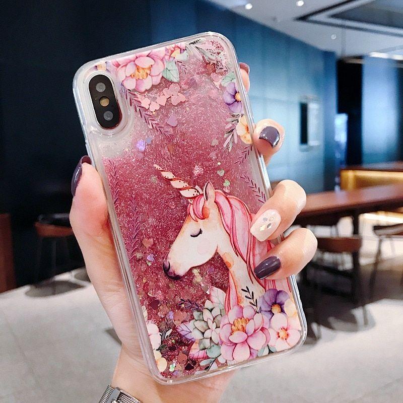Cute Unicorn Quicksand Iphone Case