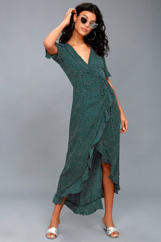 c0358a669ff Mystified Forest Green Polka Dot High-Low Wrap Dress 2